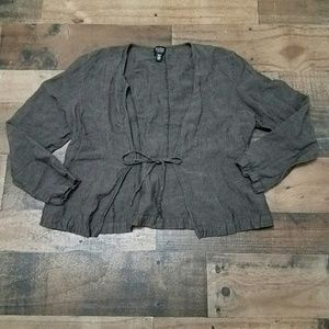 PM Eileen Fisher Linen Tie Shrug